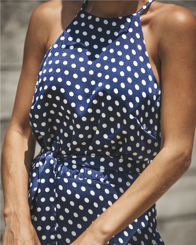 Womens Boho Polka Dot Midi Dress Party Cocktail Irregular Skirt Ladies Summer Clubwear Sundress | Edlpe