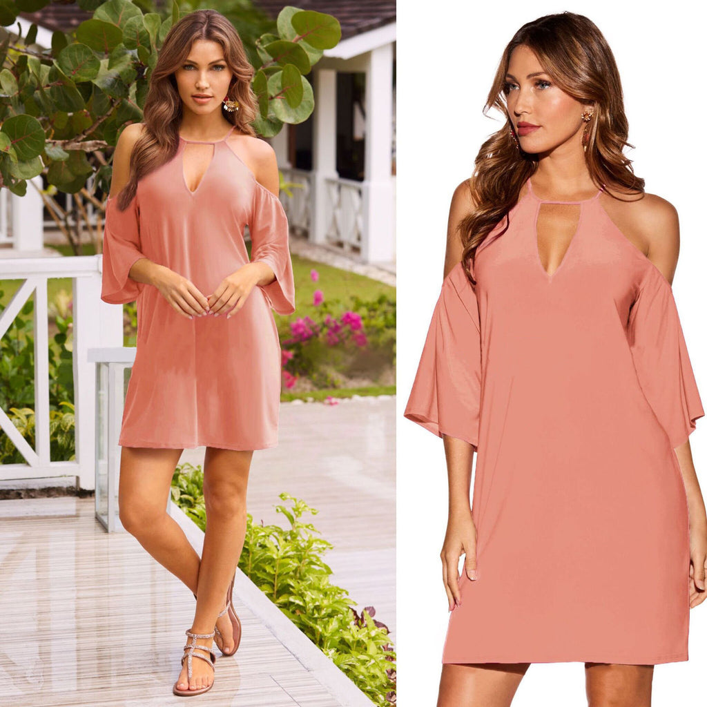 Women Sexy Halter Neck Cold Shoulder Mini Dress Summer Evening Party Tunic Dress | Edlpe
