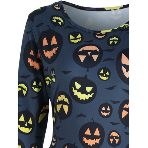 Womens Halloween Pumpkin Midi Dress Ladies Long Sleeve Party Casual Dress Top | Edlpe