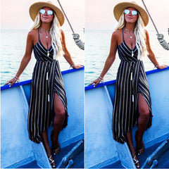 Boho Women Summer Plunge Strappy Midi Sundress Evening Party Beach Wrap Dress