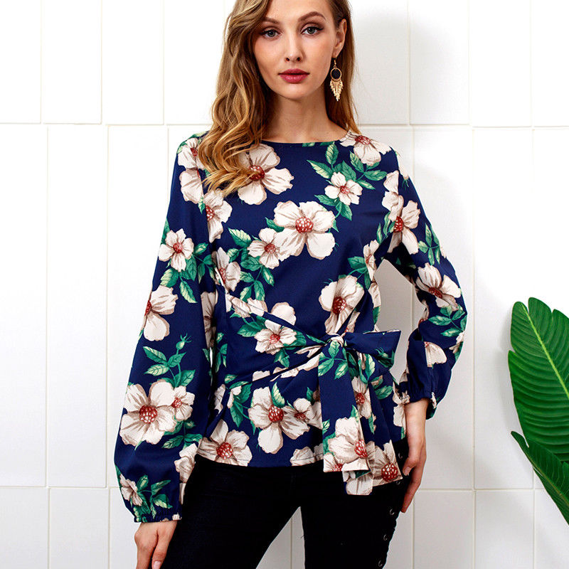 Women Floral Long Flared Sleeve Shirt Ladies Bandage Waist Casual Loose Blouse Tops Size | Edlpe