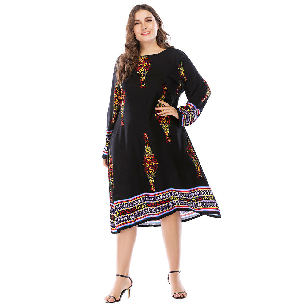 ef008de96db33 Womens Ladies Holiday Long Sleeve Boho Maxi Dress Sundress Summer Plus Size