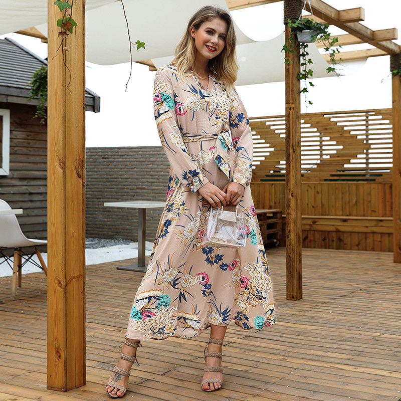 Women Holiday Long Sleeve V-Neck Maxi Dress Ladies Long Swing Floral Dresses | Edlpe