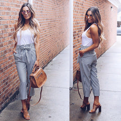 Womens High Waist Paperbag Cigaratte Striped Trousers Ladies Long Pants Size