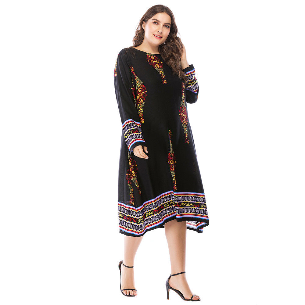 b7fd606aab314 ... Womens Ladies Holiday Long Sleeve Boho Maxi Dress Sundress Summer Plus  Size
