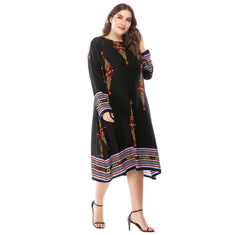 Womens Ladies Holiday Long Sleeve Boho Maxi Dress Sundress Summer Plus Size | Edlpe
