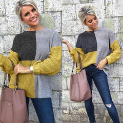 Contrast Color Block Long Sleeve Cardigan Knitted Sweater