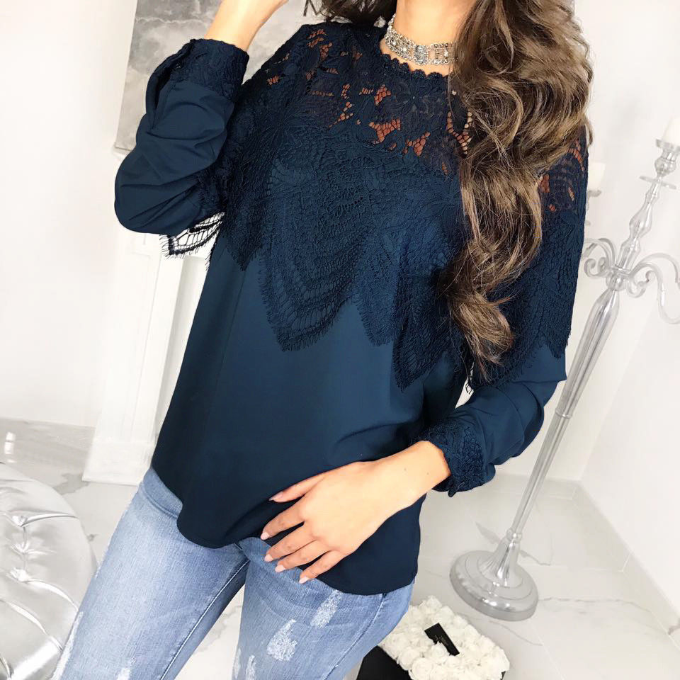 Sexy Women Lace Hollow Crochet Chest T-Shirt Patchwork Long Sleeve Solid Top Blouses | Edlpe