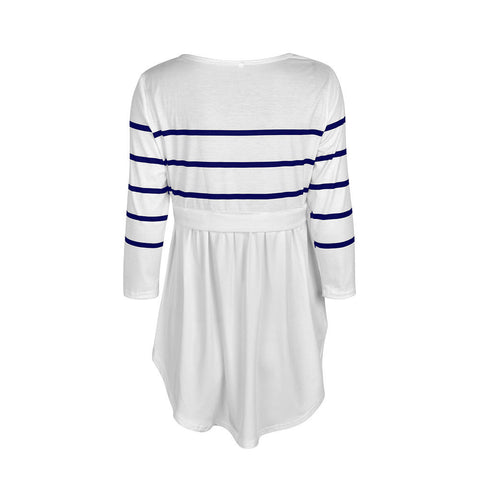 Women Striped Blouse Tops Pregnant Maternity Casual Long Sleeve Ruffle Tee Shirt | Edlpe
