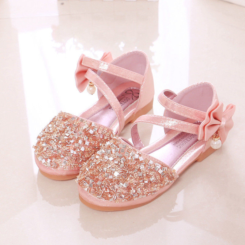 Kids Girls Glitter Bowknot Glitter Sequins Sandals Princess Sandals Party Shoes Size | Edlpe