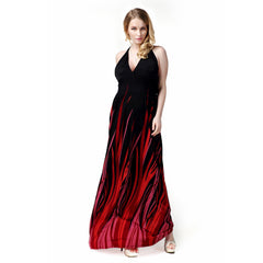 Plus Size Women Summer Halter V Neck Backless Maxi Dress Cooktail Party Dress | Edlpe