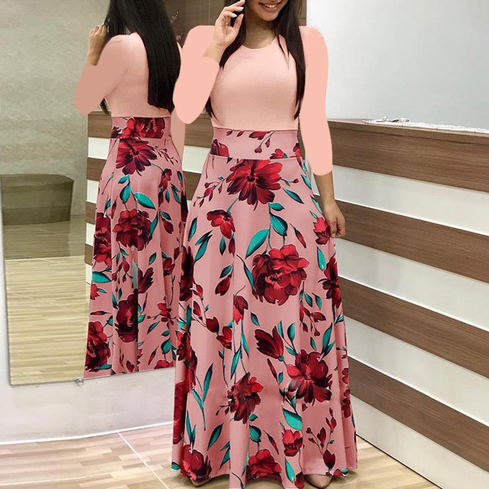 Plus Size Ladies Long Sleeve Floral Boho Party Bodycon Maxi Dress