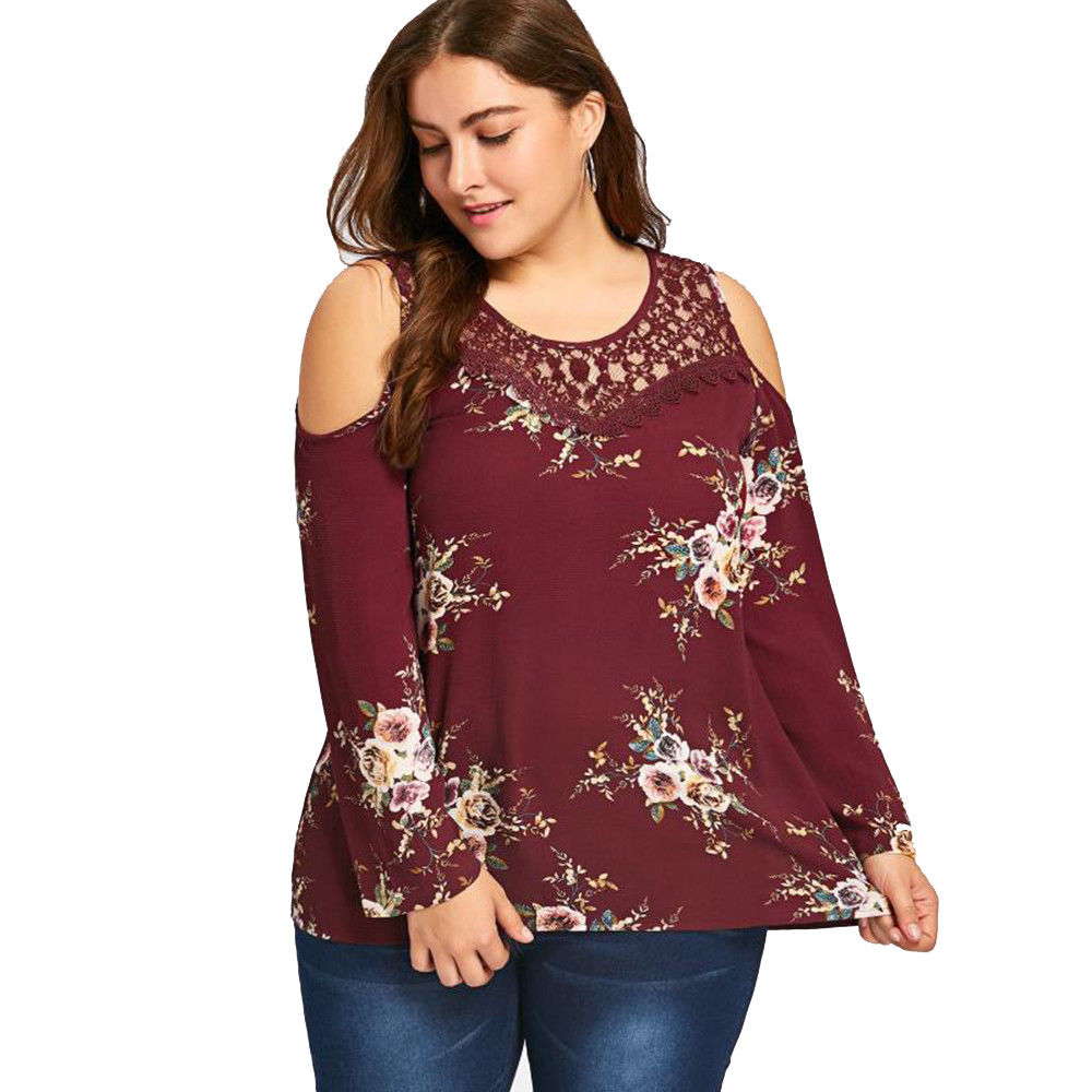 4e502bbab13 ... Plus Size Womens Floral Lace Splicing Blouse Long Sleeve Cold Shoulder  Tops Tee