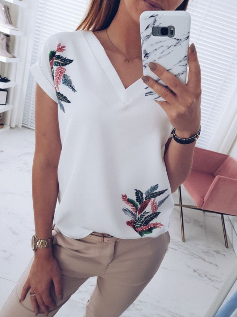 Womens Short Sleeve V Neck Shirt Blouse Ladies Summer Floral Loose T-Shirt Tops | Edlpe