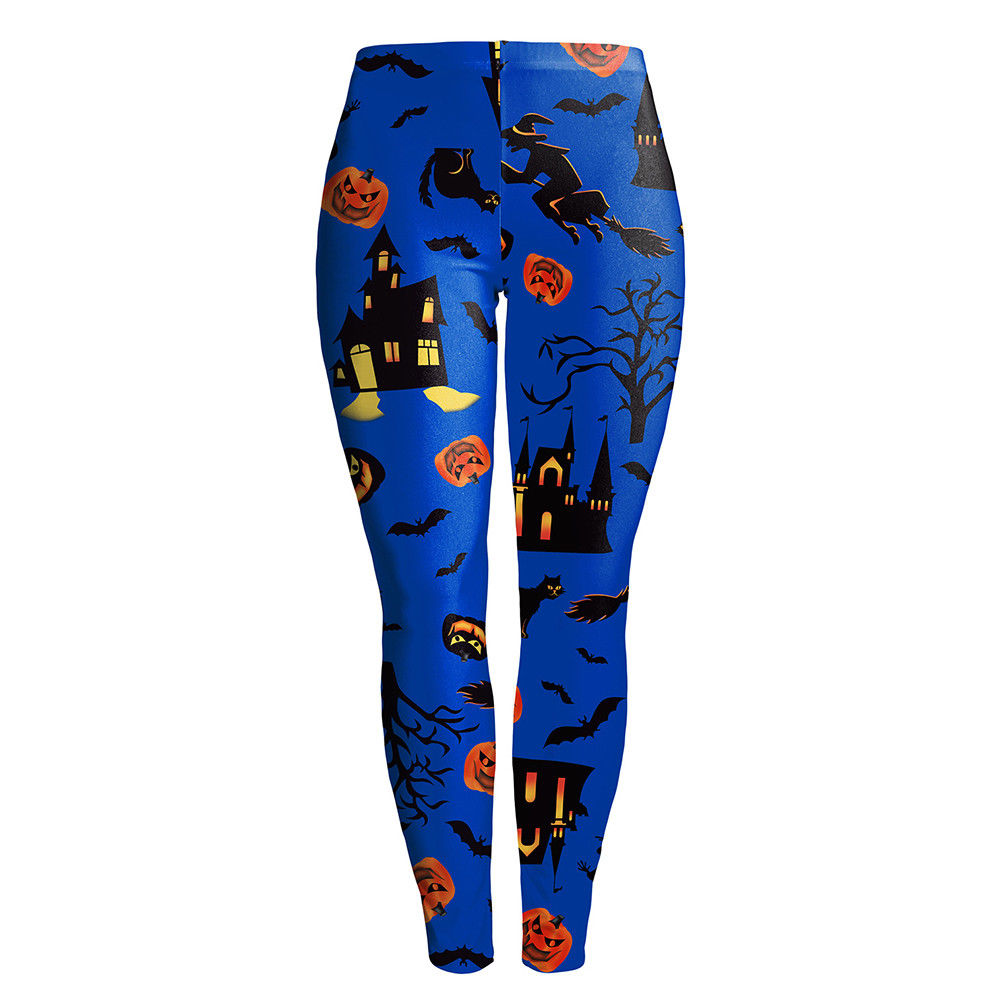 New Women Halloween Floral Print Legging Stretch Skinny Slim Fit Pencil Pants | Edlpe