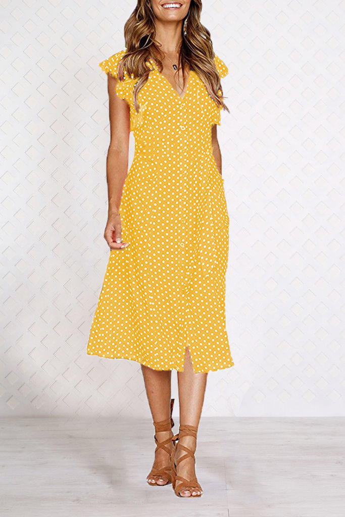 Womens Summer Sleeveless V-Neck Polka Dot Midi Dress Ladies Holiday Sundress | Edlpe