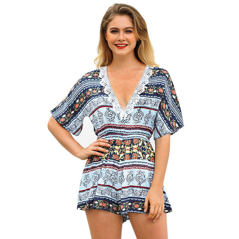 Womens Holiday V-Neck Mini Playsuit Ladies Floral Print Short Jumpsuit Summer Beach Sundress | Edlpe