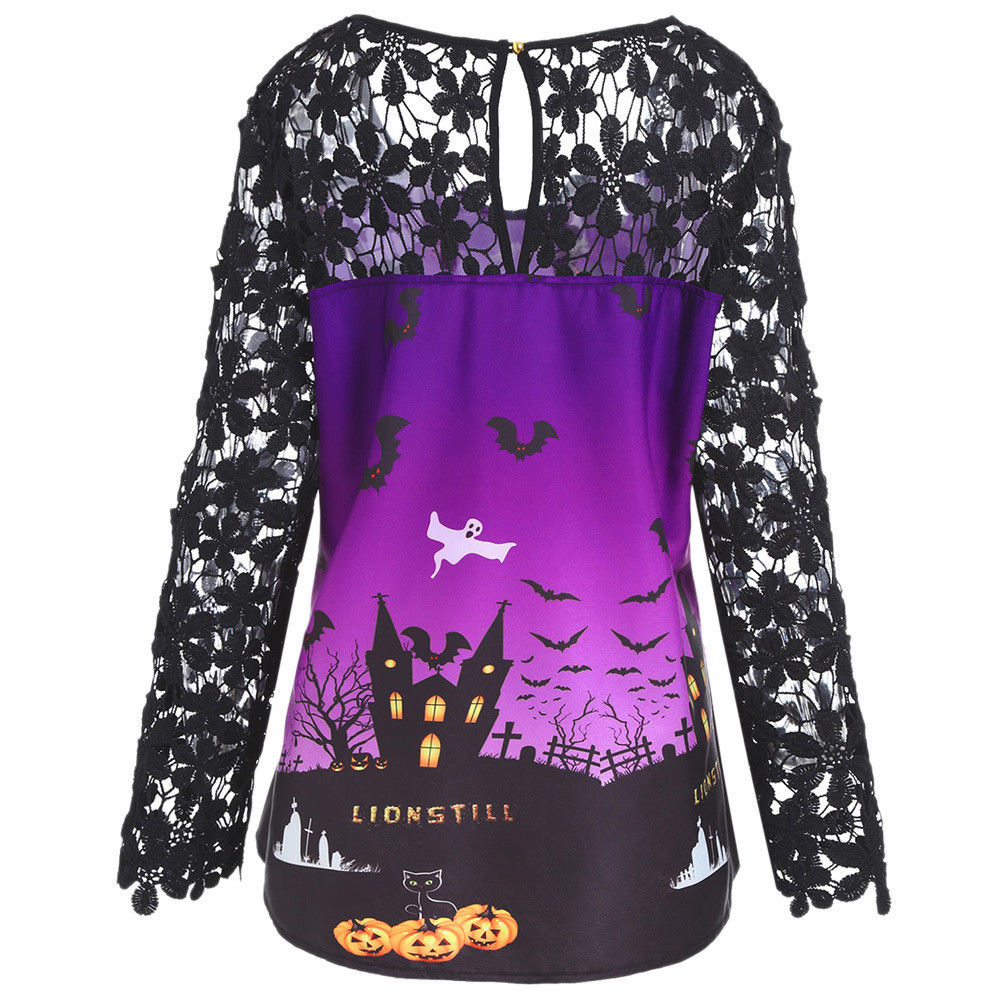 Womens Halloween Lace Mesh Long Sleeve Blosue Ladies Pumkin Castle T Shirt Tops | Edlpe