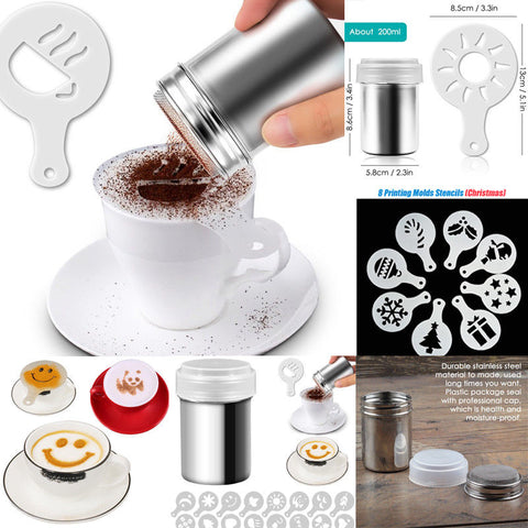 Stainless Steel Chocolate Shaker Powder Sprinkler Cappuccino Coffee Cocoa Sifter Christmas Pattern | Edlpe
