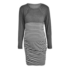 Striped Nursing Breastfeeding Mini Dress Pregnant Maternity Casual Dress