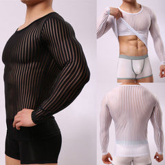 Men Mesh Transparent Long Sleeve Tops Sexy Muscle Striped Crew Neck T-Shirt Tee | Edlpe