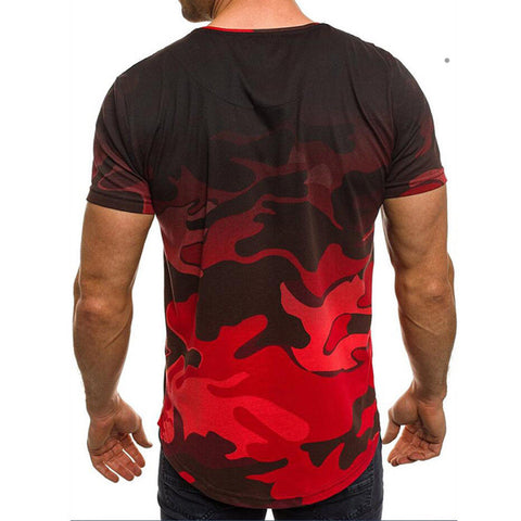 Men Camouflage T-Shirt Letters Printed Short Sleeve Casual Slim Fit O Neck Muscle Top | Edlpe