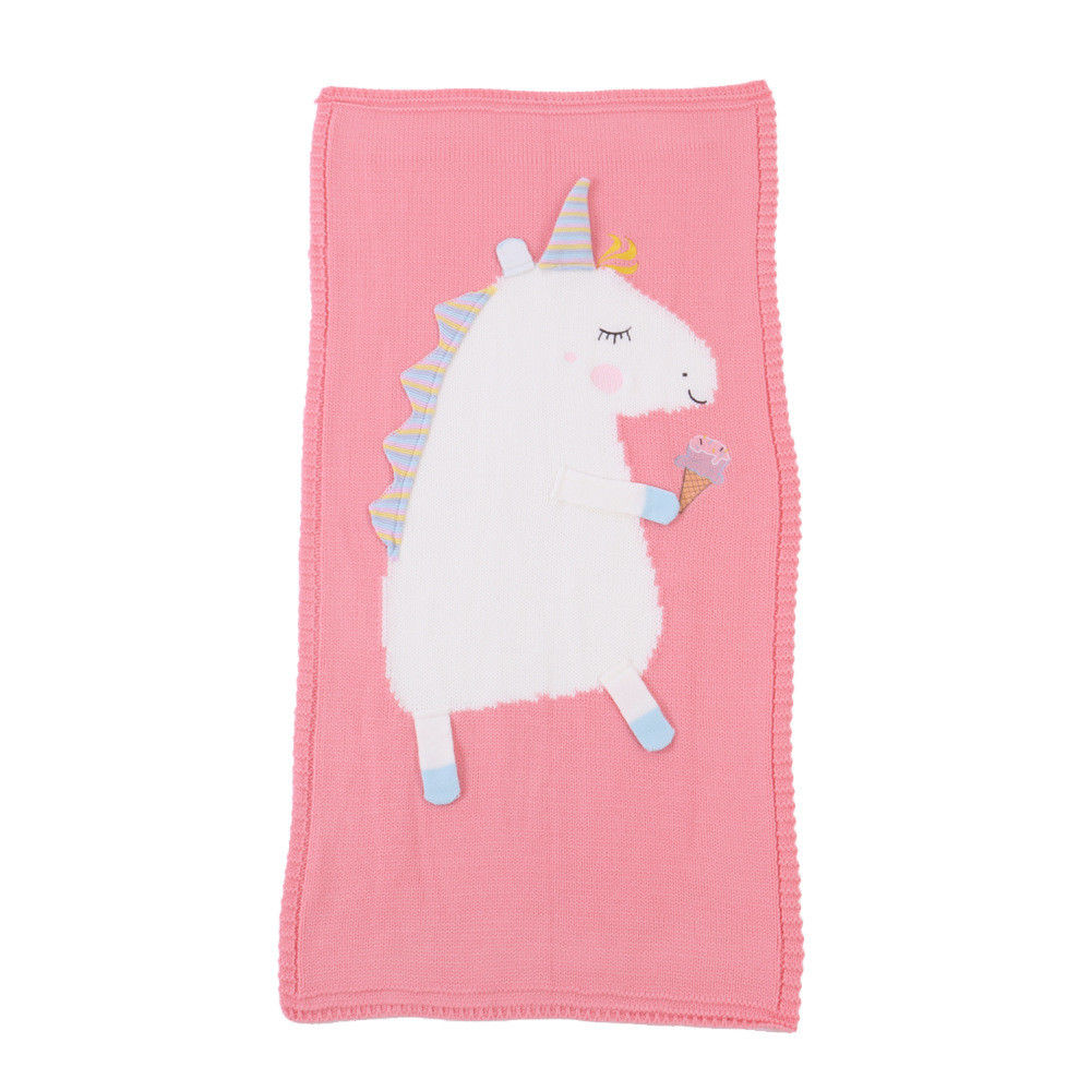 Unicorn Napping Knitted Kids Cotton Quilt Hand Blanket Throws Gift Baby Knitting | Edlpe