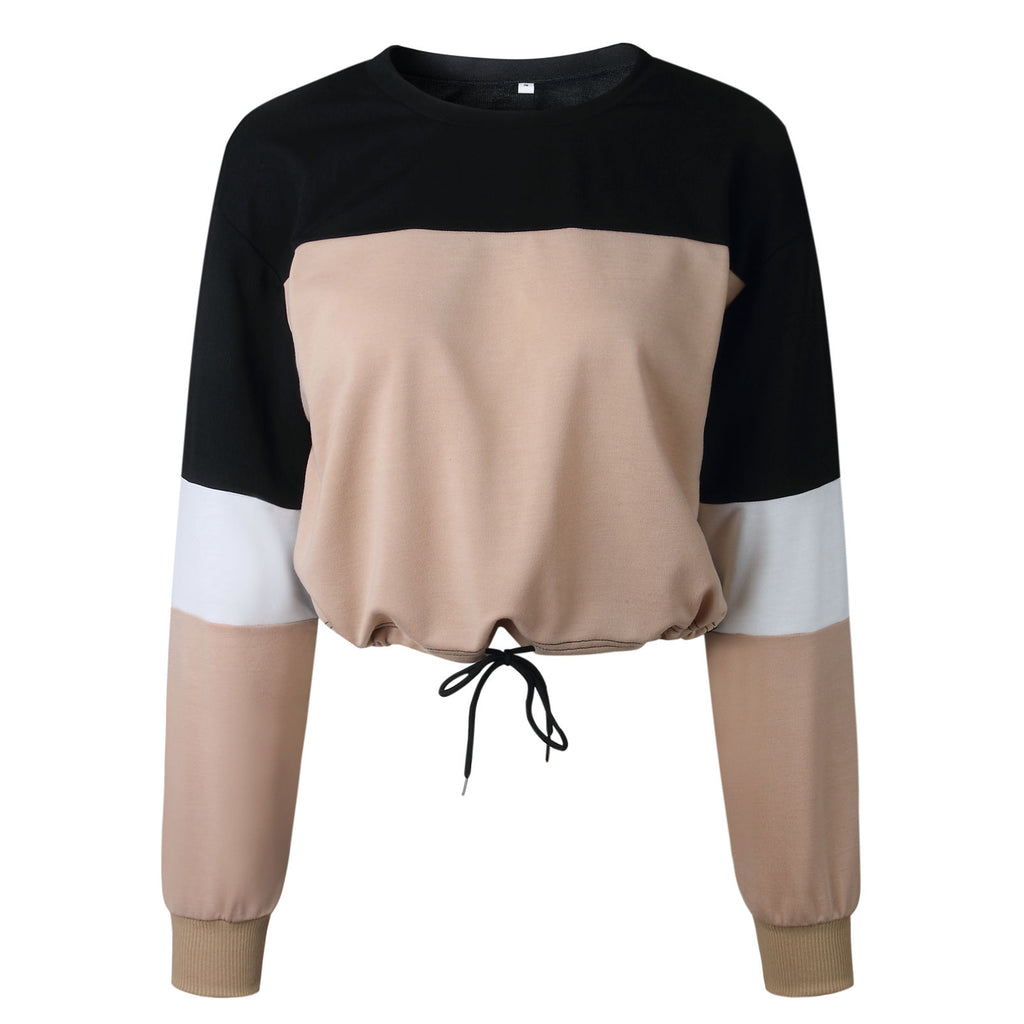 Women Long Sleeve Striped Crop Top Casual Loose Lace Up Hem Pullover Jumpers | Edlpe