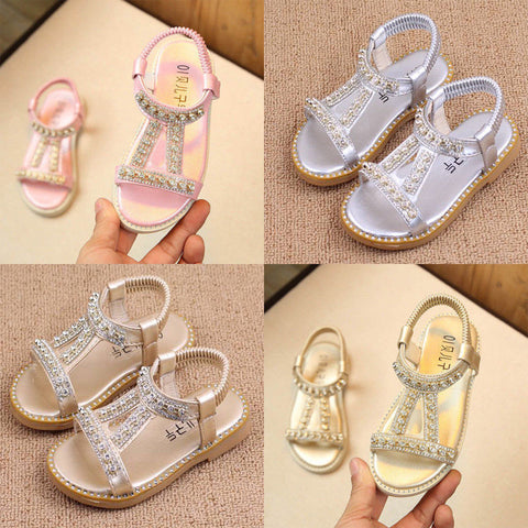 Kids Girls Summer Holiday Diamond Sandals Infant Princess Slip On Flat Shoes | Edlpe