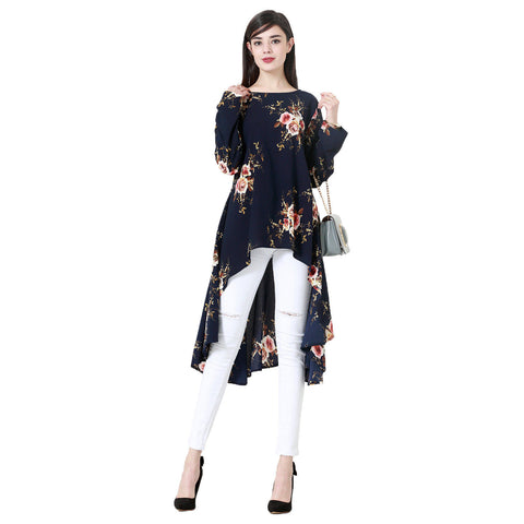 Plus Size Women Irregular Blouse Shirt Floral Printing Long Sleeve Dress Tops | Edlpe