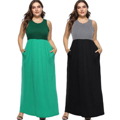 Women Plus Size Sleeveles Vest Dress Boho Striped Long Maxi Dress With Pocket | Edlpe