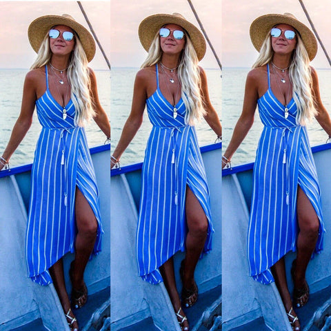Boho Women Summer Plunge Strappy Midi Sundress Evening Party Beach Wrap Dress | Edlpe