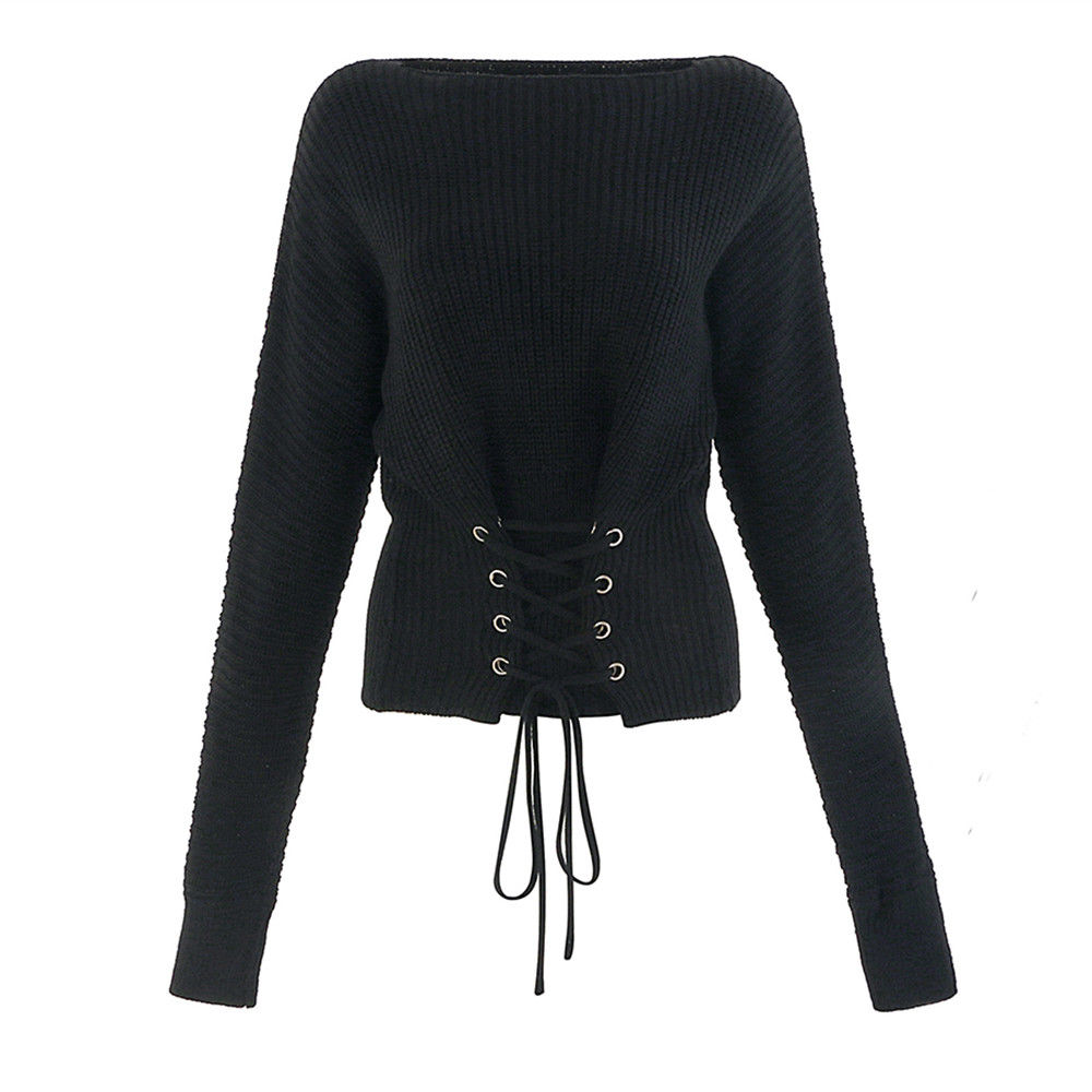 Womens Winter Long Sleeve Lace Up Jumpers Knitted Sweater Ladies Pullover Top | Edlpe