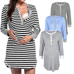 Women Pregnancy Maternity Nursing Dress Striped Long Sleeve Breastfeeding Dress