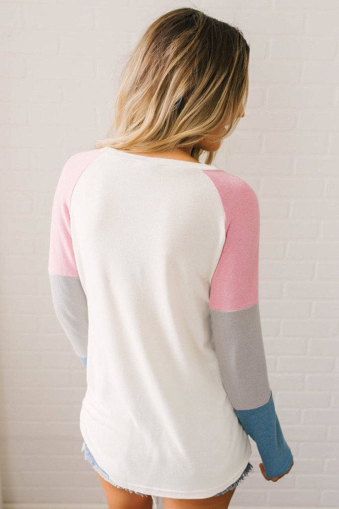 Women Long Sleeve Patchwork T-Shirt Tops Ladies Casual Loose Plain Blouse Tee | Edlpe