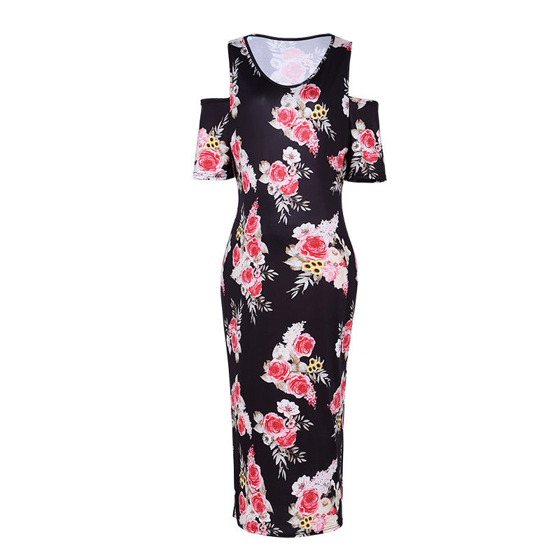 Vintage Pregnant Floral Printed Cold Shoulder Slimming Midi Dress | Edlpe
