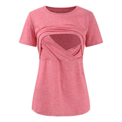 Mother Wear Pure Color Breastfeeding Round Neck T-Shirt top
