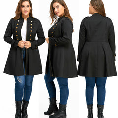 Plus Size Womens Plus Size Double Button Jackets Midi Coat Zipper Handsome Cardigans | Edlpe