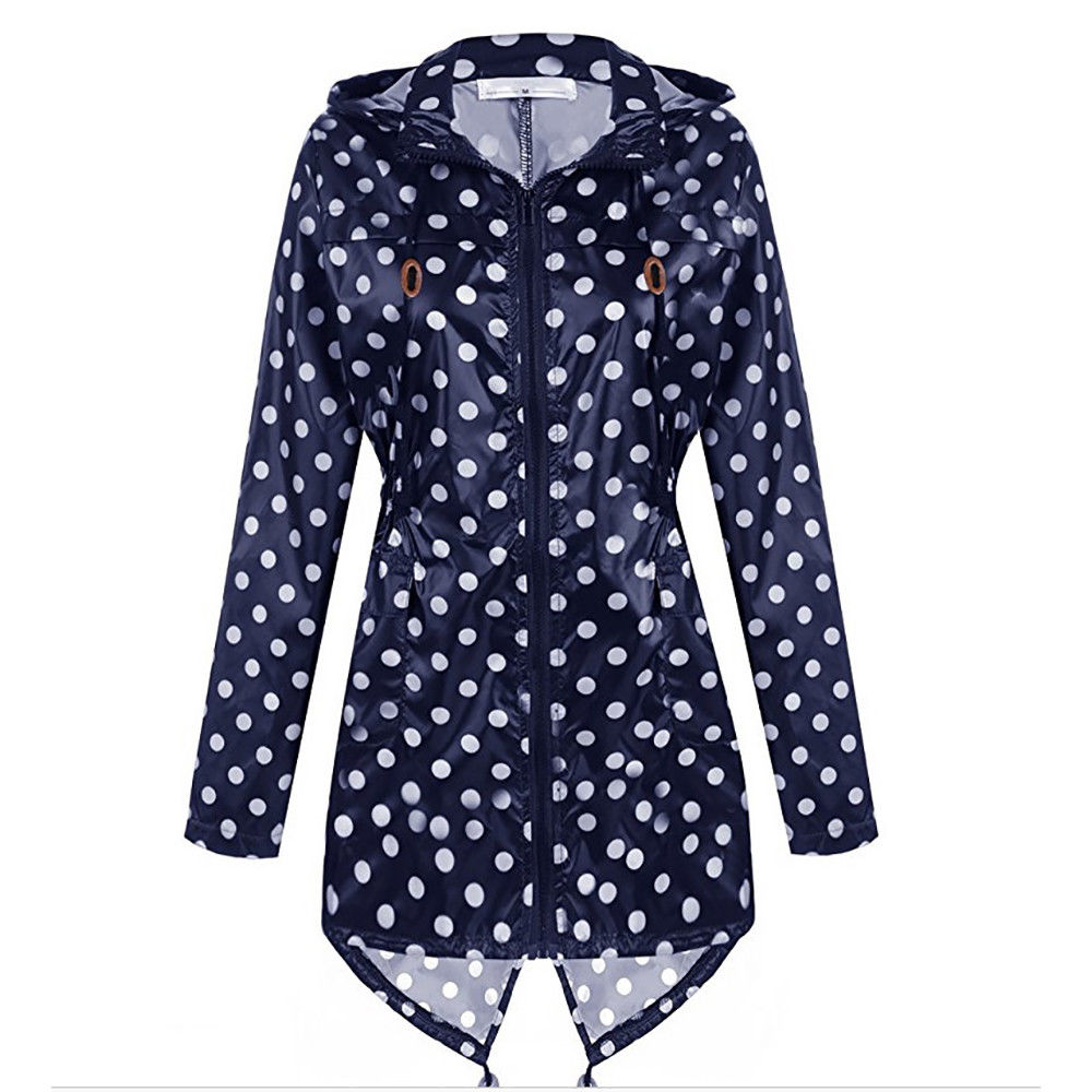 Womens Rain Mac Waterproof Polka Dot Hoodie Jacket Raincoat Jacket Outdoor | Edlpe