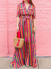 Women Holiday V Neck Striped Maxi Casual Long Dress Ladies Boho Shirt Dress Plus Size S-3XL