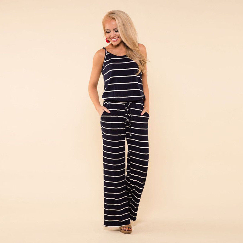 Women Jumpsuit Striped Summer Casual Sleeveless Romper Long Playsuit Suspenders Plus Size | Edlpe