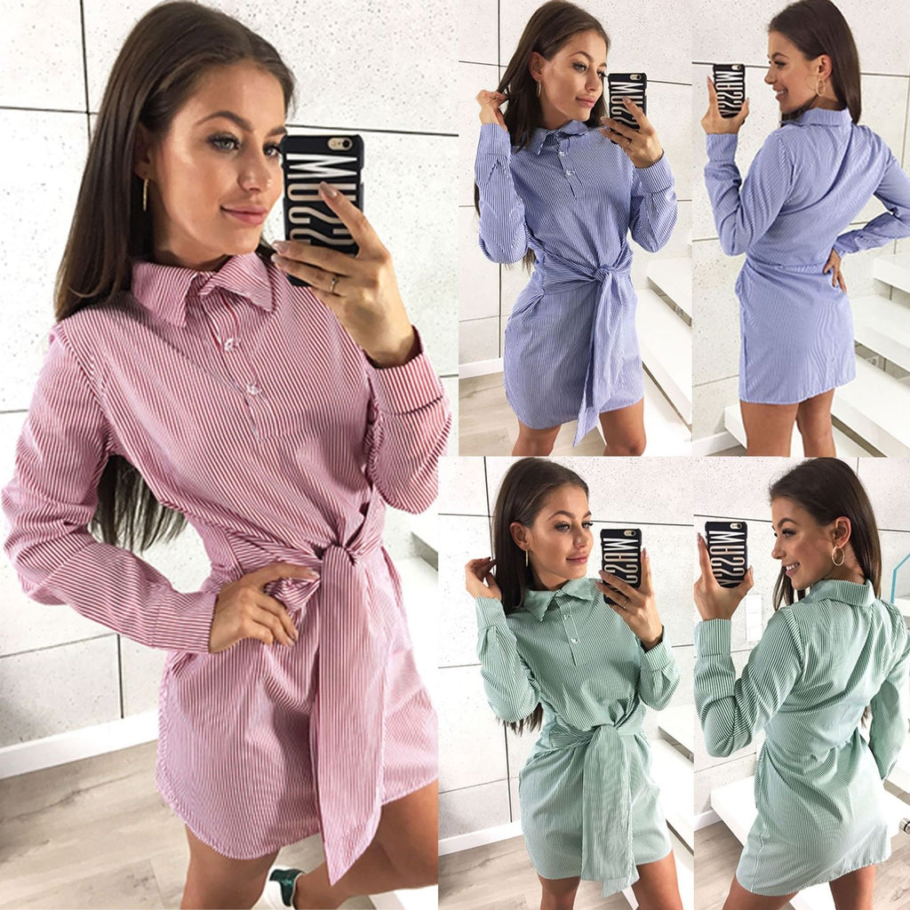 Women Long Sleeve Stripe Shirt Dress Bandage Slim Casual Long Tops Mini Dress | Edlpe