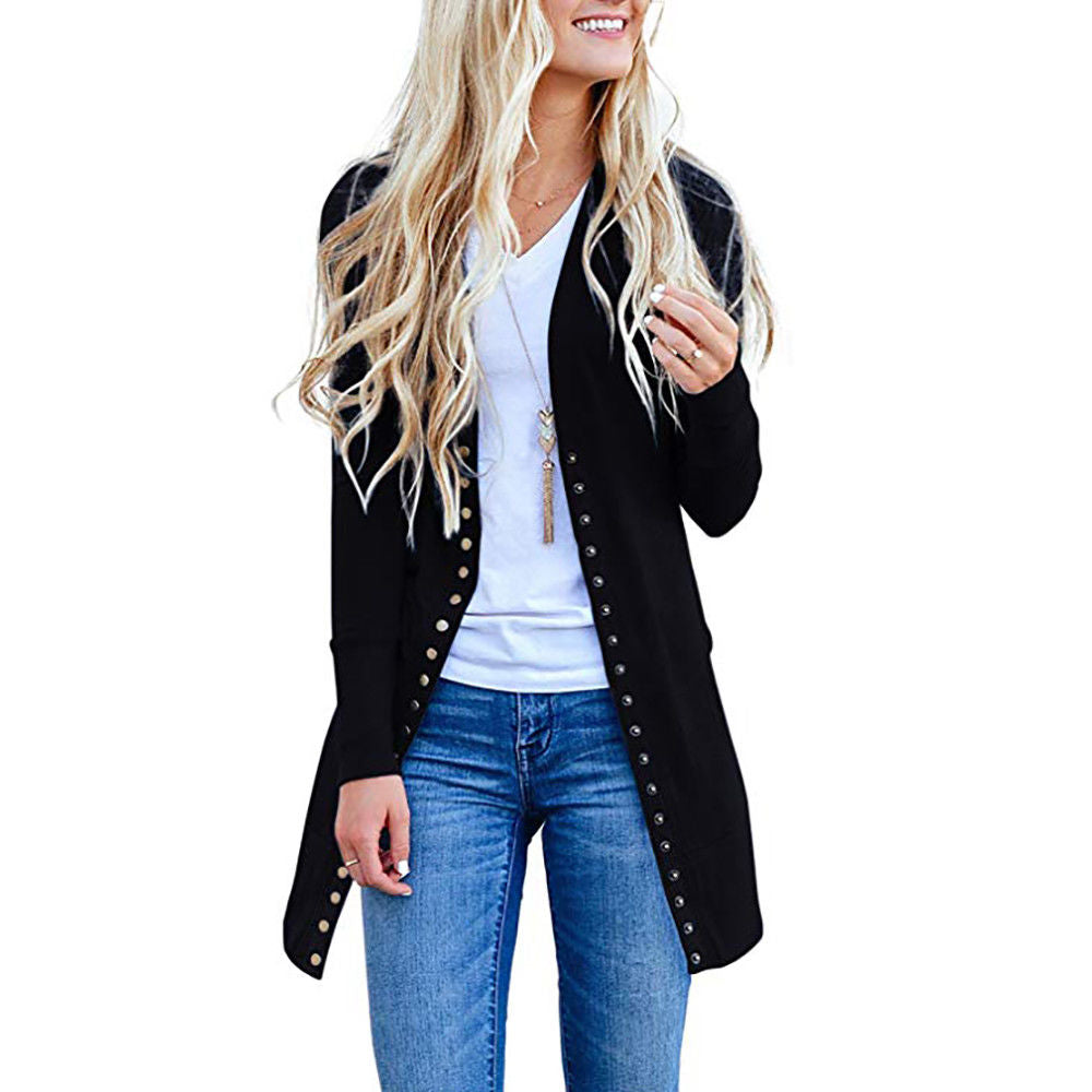 Women Button Down Cardigan Sweater Low Cut Long Sleeve Casual Knitted Tops | Edlpe