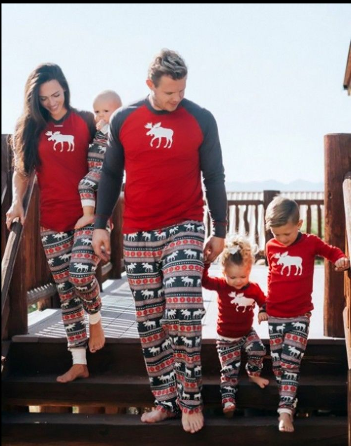 Xmas Pjs Family Matching Adult Women Kids Christmas Nightwear Pyjamas Pajamas | Edlpe