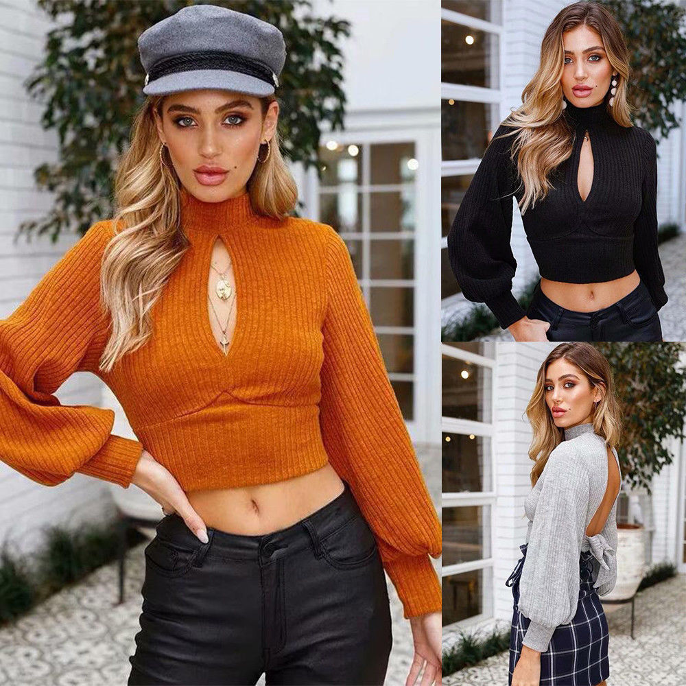 Autumn Women Sexy Long Sleeve Backless Belt Crop Sweater Tops Ladies Pullover | Edlpe