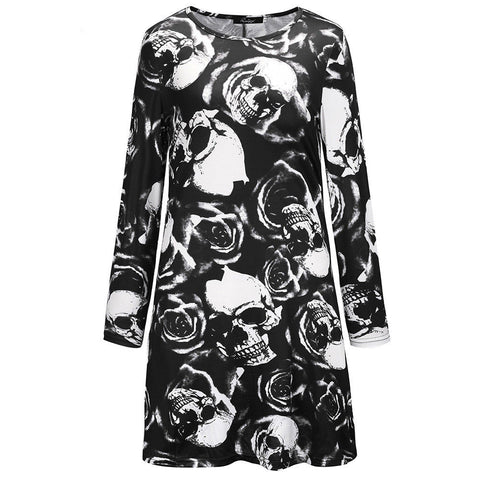 Plus Size Womens Ladies Long Sleeve Halloween Print Swing Skater Halloween Dress | Edlpe