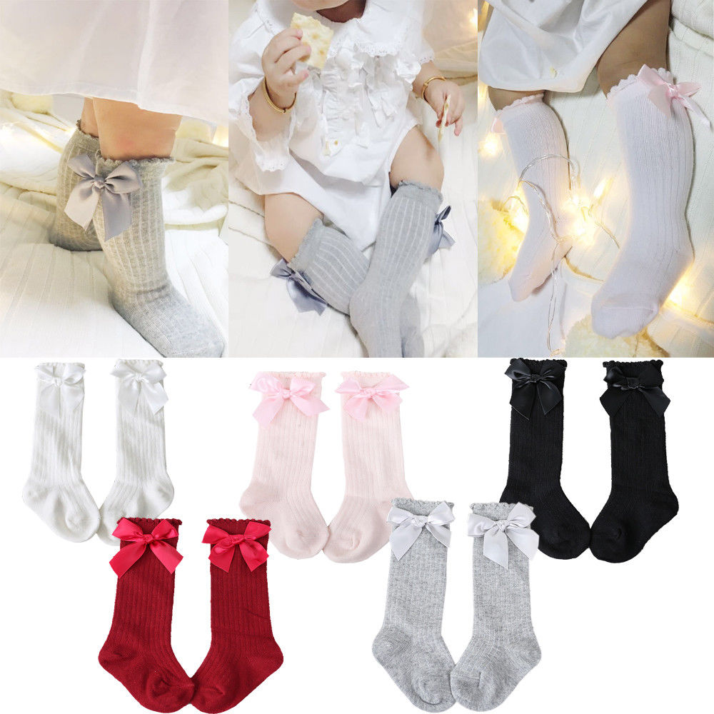 Kids Child Baby Girls Knee High Long Socks Lace Bow Cotton Casual Warm Tight Stocking | Edlpe