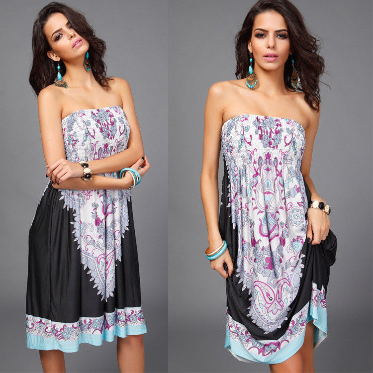 Summer Women Off Shoulder Floral Print Dress Casual Beach Holiday Strapless Swing Dress S-2Xl | Edlpe