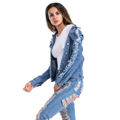 Plus Size Womens Ripped Jeans Denim Jacket Casual Open Coat Cardigan Outwear