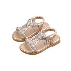 Kids Girls Summer Holiday Diamond Sandals Infant Princess Slip On Flat Shoes